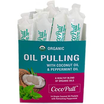 CocoPull - Organic Oil Pulling with Coconut Oil and Peppermint Oil for Healthy Teeth and Gums and Bad Breath Remedy. Natural Teeth Whitening with 14 Unrefined Oil Pulling Packets.