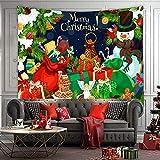 LNLN Tapices De Navidad Serie De Fondo De Vacaciones De Navidad Tapices Papá Noel Calcetines De Navidad Chimenea PoliéSter Hogar Impreso Digitalmente,C-100×70CM