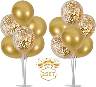 Best Balloons Stand Kit Table Decorations,2 Set with 14 Sticks, 14 Cups, 2 Base, 16 Gold Balloons for Wedding Graduation 30th 40th 50th 60th 70th 80th 90th 100th birthday table decorations Review