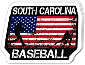 Cool Sticker (3 pcs/Pack, 3x4 inch) South Carolina Baseball Team American Flag Independence Day Patriotic Design 4th of July USA Perfect for Water Bottle,Laptop,Phone, Extra Durable Vinyl Decal