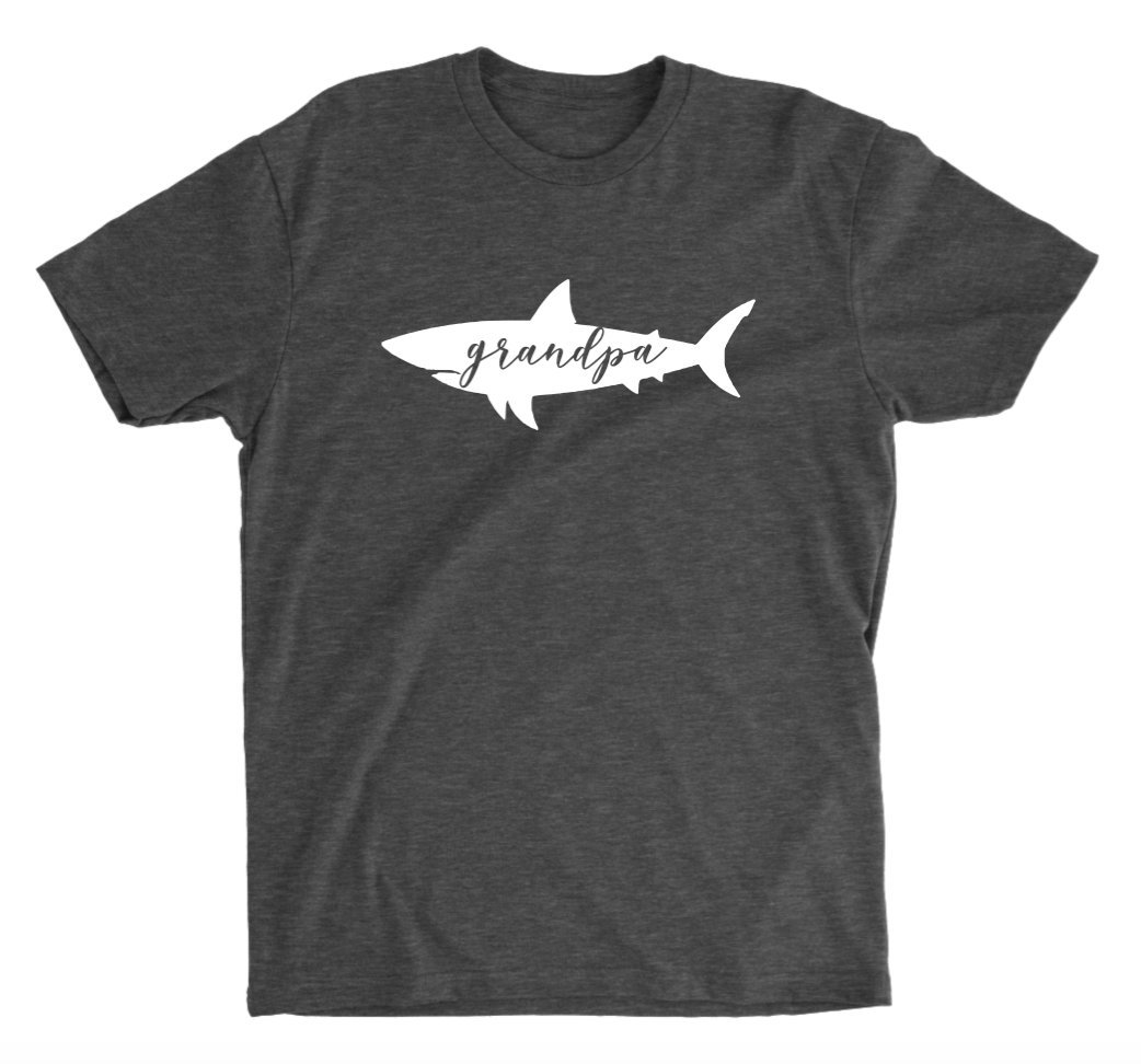 Grandpa Shark Purchase Dark Heather Max 79% OFF T-shirt Unisex Grey