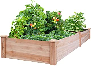 Superday Wooden Raised Garden Bed Box Stand for Backyard Patio - Natural