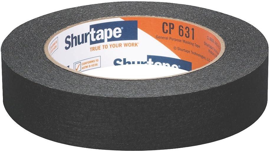 Shurtape CP 631 General Purpose Grade, Medium-High Adhesion Colored Masking Tape, 24mm x 55m, Black, Case of 36 Rolls (189115)