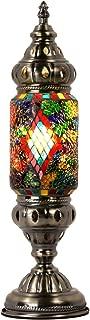 Marrakech Turkish Desk Lamp Handmade Mosaic Glass Table Lamp Moroccan Lantern Tiffany Style Decorative Night Lights with Black Diamond Pattern