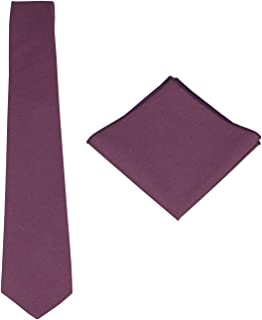 Mens Solid Linen Tie Set : Necktie with Matching Pocket Square-Various Colors