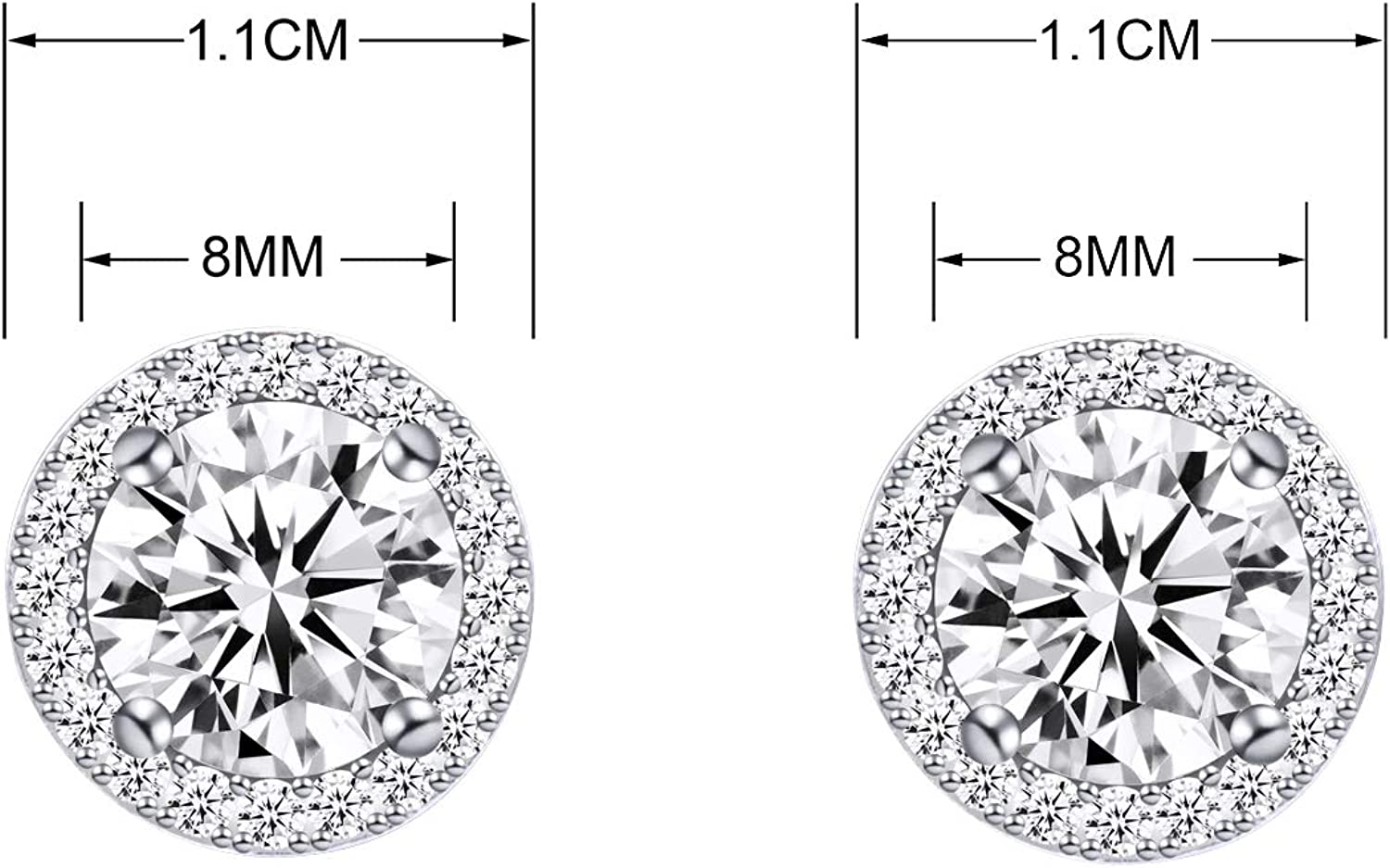 YOQUCOL Bright 8MM,10MM Cubic Zirconia Crystal Clip On Stud Round Non-Pierced,Pierced Earrings For Women Girls