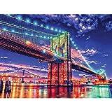 DIY 5D Pintura de diamante Diseño Diamond Painting Nueva York luces de neón Puente de Brooklyn Set de Regalo Punto de Cruz Diamante Diamantes de Imitación Arts Craft para Decoración 30X40cm