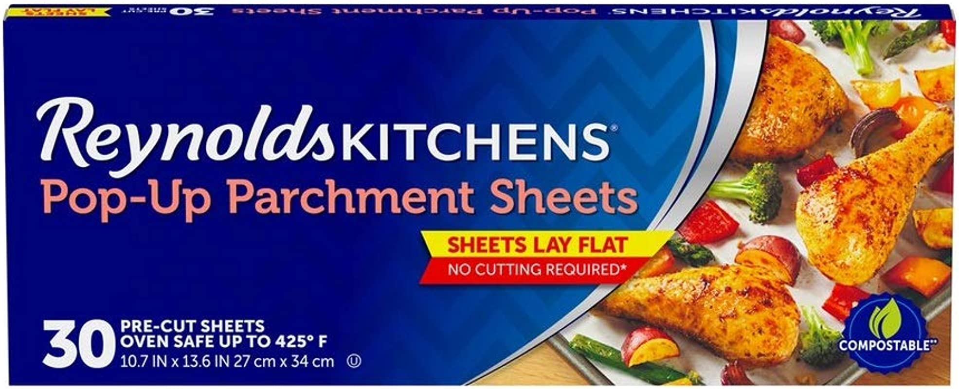 Reynolds Kitchens Pop Up Parchment Paper Sheets 10 7x13 6 Inch 30 Sheets