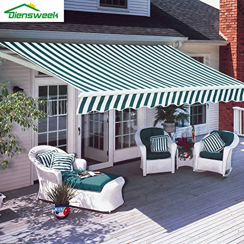 Diensweek 10'x8' Patio Awning Retractable Manual Commercial Grade, Fully Assembled,100% 280G...