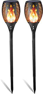 Balight Solar Torch Lights, Dancing Flame Lighting 96 LED Flickering Tiki Torches Waterproof Wireless Auto On/Off Outdoor Light for Patio Garden Path Yard Wedding Party(2 Pack) (Star)