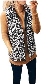 Women Leopard Vest Coat, E-Scenery Sleeveless Pullover Blouse Open Front Jacket Long Outerwear