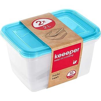 keeeper Set de 2 Fiambreras, 2 x 2 l, 20,5 x 15,5 x 10,5 cm, Fredo Fresh, Azul transparente: Amazon.es: Hogar