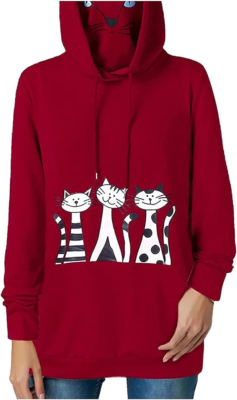 Women Casual Cat discount Print Mask Tulsa Mall Sweatshirt Shirt Loo Hooded Pullover