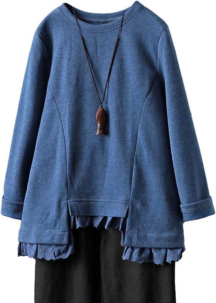 Minibee Women's Long Sleeve Tunic Tops Irregular Lace Hem Blouses with Pockets