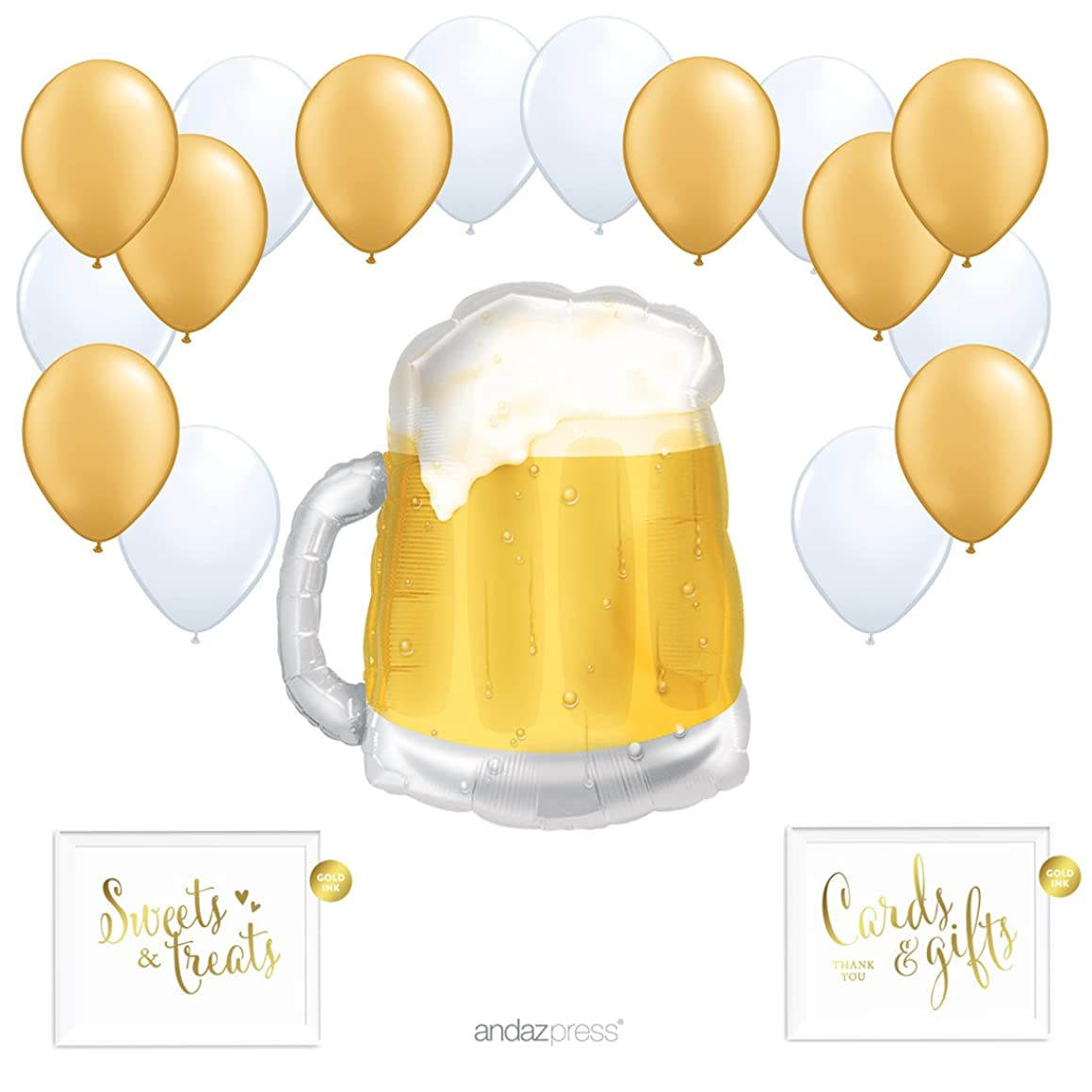 Andaz Press Balloon Party Kit with Gold Ink Signs, Frosty Beer Mug with Gold and White Latex Balloons, 19-Piece Kit