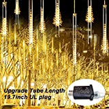 JMEXSUSS Warm White Meteor Shower Rain Lights Outdoor 50cm 8 Tubes 288 LED Falling Rain Decoration Lights, Icicle Cascading Fairy String Lights for Halloween Christmas Holiday Party Patio Decoration