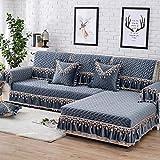 YUTJK Chaiselongue-Sofa Bezug,High-End-Sofabezug aus holländischem Samt mit Spitzenrock,rutschfestem Rückenkombinationssofakissen,Sofarückenlehne Handtuch-Blau_60x180cm+20cm