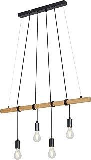 Briloner Leuchten Lampe à suspension en bois et métal - Look rétro & vintage – Comporte 4 douilles E27 – Idéale pour le sa...