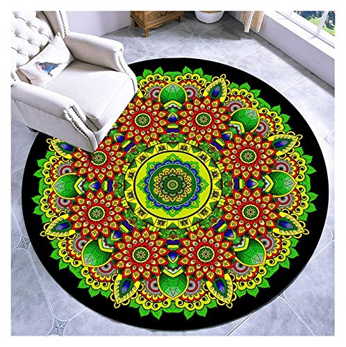 WZLL Circular Area Rugs Living Room Carpet Washable National Style Round Rug for Used for Kitchen Hall Sofa Coffee Table Mat (Color : F, Size : Ø120cm)