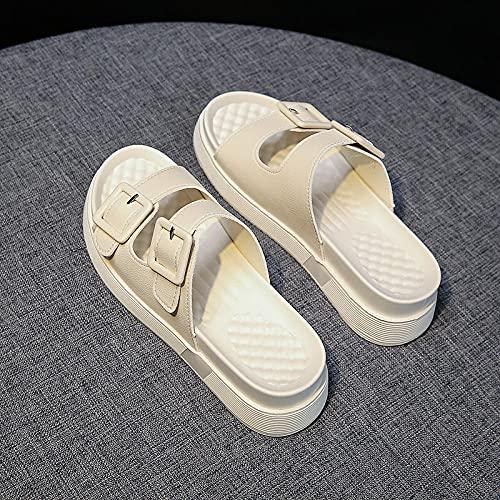 Zapatillas De Casa para Mujer Primavera,PequeñAs Zapatillas De Viento Fragantes, Ropa De Verano para Mujer 2021 Nuevas Sandalias De Pastel De Pino De Fondo Grueso, Playas Comodidad De Moda-UE 39 (245