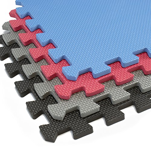 Interlocking Foam Mats With Borders | Thick EVA Exercise Flooring | Soft & Non Toxic Kids Play Tiles | Puzzle for Children & Baby Room | Yoga Squares Babies Garage Gym Fitness Board (Gray)