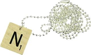 Miniblings Scrabble ABC Kette 80cm Buchstabe Name WUNSCHBUCHSTABE Initialen - Handmade Modeschmuck - Kugelkette versilbert