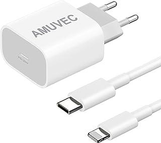 Amuvec Cargador USB C 20 W, PD 3.0 Carga Rápida Cargador Tipo C Adaptador con Cable 1M, Cargador Móvil para iPhone 12/12 P...