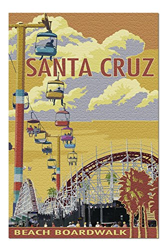 Santa Cruz, California - Beach Boardwalk (20x30 Premium 1000 Piece Jigsaw Puzzle, Made in USA!)