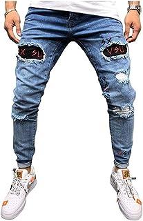 Jeans da uomo alla moda effetto strappato, vestibilità aderente ed elasticizzati, taglie S-XXL