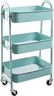 AGTEK Makeup Cart, Movable Rolling Organizer Cart, Aqua Blue 3 Tier Metal Utility Cart