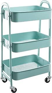 AGTEK Makeup Cart, Movable Rolling Organizer Cart, Aqua Blue 3 Tier Metal Utility Cart