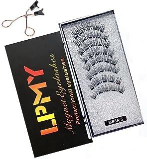 Magnetic Eyelashes, 8 Pcs Reusable Magnetic Lashes Natural False Eyelash Kit with Ultra-Thin Magnet & Applicator Tweezers