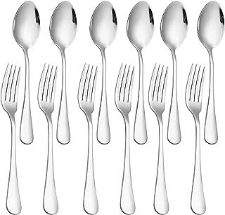 مجموعه 12 عدد ، چنگال و قاشق غذاخوری از جنس استنلس استیل با ظروف نقره ای ، چنگال های سنگین (8 اینچ) و قاشق (6،9 اینچ) مجموعه کارد و چنگال ، ایمن در ماشین ظرفشویی- (مشکی)