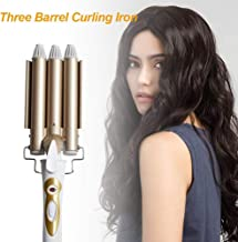 wentgo Hair Curler, 3 Barrel Hair Waver Curling Iron Wand Adjustable 2 Levels Temperature, Curling Tongs Crimping Bubble Styling Tool for Long Hair, 22mm