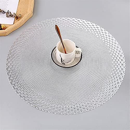 Manteles individuales,6 piezas de taza de café redonda simple y tapete para platillo, color sólido ahuecado aislamiento térmico mantel occidental para la decoración de la cafetería del hotel-plata