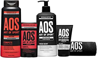 Art of Sport Compete Bestsellers Kit, 5pc Men's Daily Essential Body Care Gift Set with Aluminum-Free Deodorant, Charcoal ...