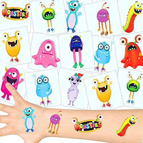 German Trendseller® - Monster Tattoos Set ┃ NEU ┃ Monster Party ┃ Kindergeburtstag ┃ Mitgebsel ┃36 Tattoos