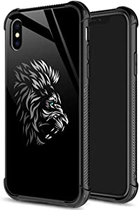 iPhone Xs Case, Tribal Lion iPhone X Cases for Man, 9H Tempered Glass Back+Soft Silicone TPU Shock Protective Case for Apple iPhone X/Xs 5.8-inch Tribal Lion