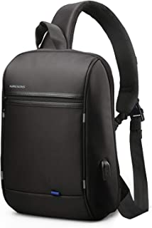 Anti Theft Single Shoulder 13-Inch Laptop Backpack Waterproof Coss-body Sling Bag with USB Charging Port