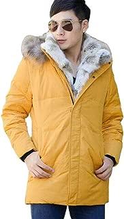 Men's Fur Collar Hooded Warm Fleece Lined Down Jackets and Coats