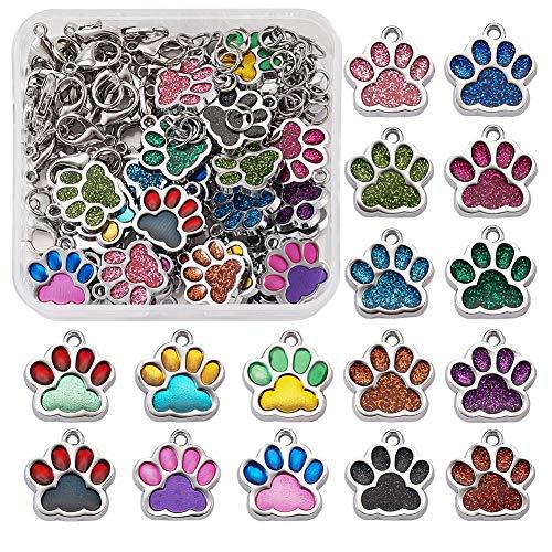 Cheriswelry 32 colgantes de huellas de gato y perro, esmaltados, diseño de huellas de animales y...