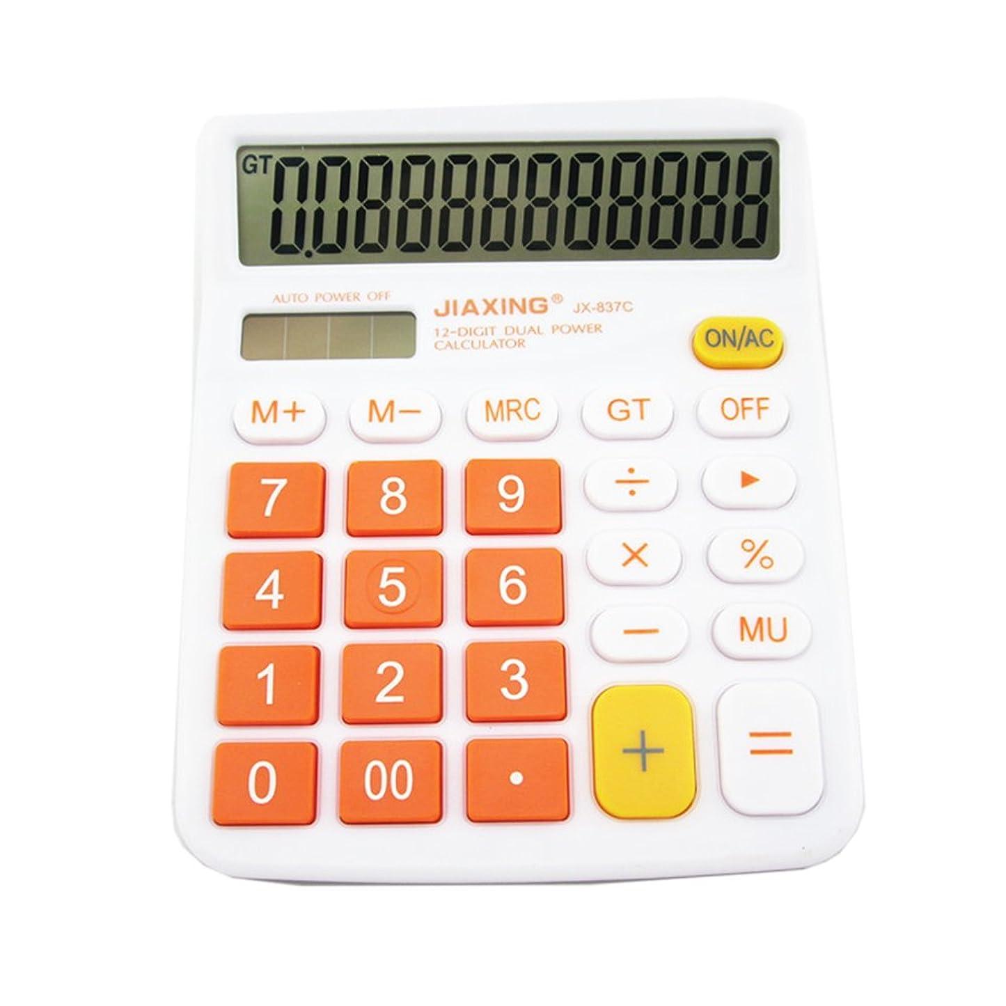 バンクシステム残り物GardenHelper 12桁カラフル大きなボタンLCD表示電卓デスクトップのオフィスホーム学校、ソーラー&バッテリーデュアルPowered標準電子計算機 オレンジ