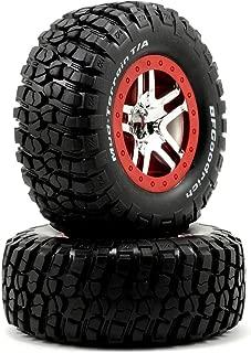 Traxxas 5877A BF Goodrich Mud-Terrain T/A KM2 Tires Pre-Glued on SCT Split-Spoke, Satin Chrome, Black Beadlock-Style Wheels (pair)