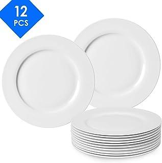 amHomel 12-Pack White Porcelain Dinner Plates, 8.75 Inches Dessert Serving Platters