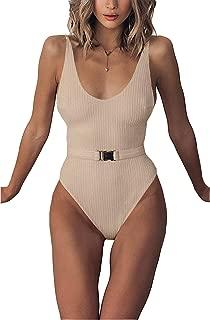 Sexy Womens Monokini Scoop Neck One Piece Backless Cheeky Swimwear Semi Thong Bikini with Belt