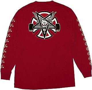 Trucks x Thrasher Magazine Pentagram Cross Men's Long Sleeve T-Shirt - Cardinal Red - XL