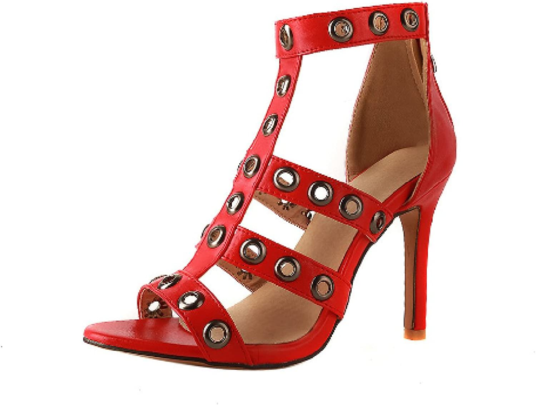 Btrada Women's Sexy Heeled Sandals Fashion Party Pumps Open Toe Back Zipper Stilettoes Dress shoes