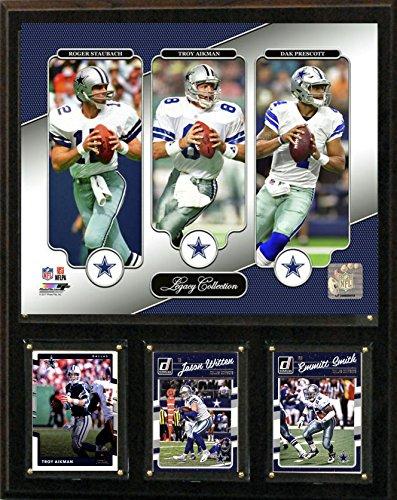 """NFL Dallas Cowboys Mens 1215Cowapslegnfl 12""""X15"""" Staubach-Aikman-Prescott Dallas Cowboys Legacy Collection Plaque, Brown, N/A"""
