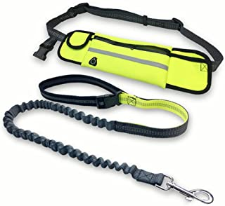 COCOKIKI Retractable Hands Free Dog Running Leash with Waist Bag Pouch Adjustable Dog Leash and Belt for Running and Walking a Waste Bag Dispenser for Free (Fluorescent Green)