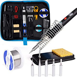 [Upgrade Version] Soldering Iron Kit for Repairing Electronic Tools, Ockered 18-in-1 60w Adjustable Temperature Soldering Iron with ON/OFF Switch, Soldering Iron Tips, Desoldering Pump, Tweezers